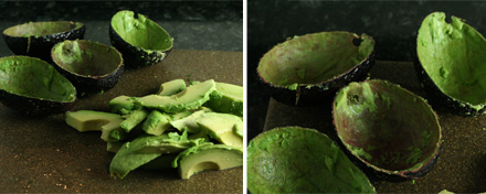 Avocado slices and empty avocado shells for guacamole