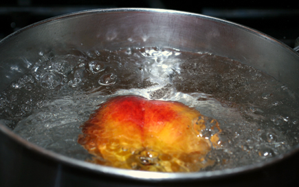 boil peach in water