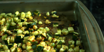 roasted zucchini on sheet pan