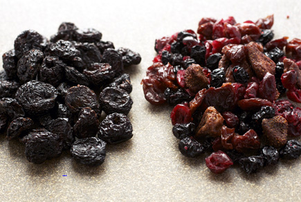 cherries, berries, dried fruit