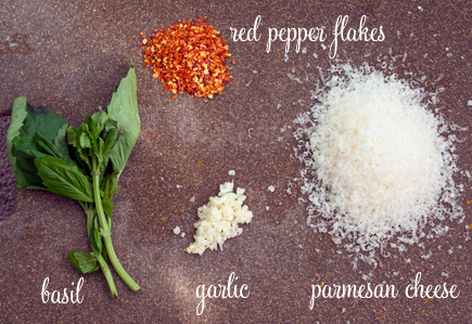 basil garlic parmesan red pepper flakes