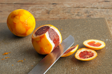 cut peel against fruit