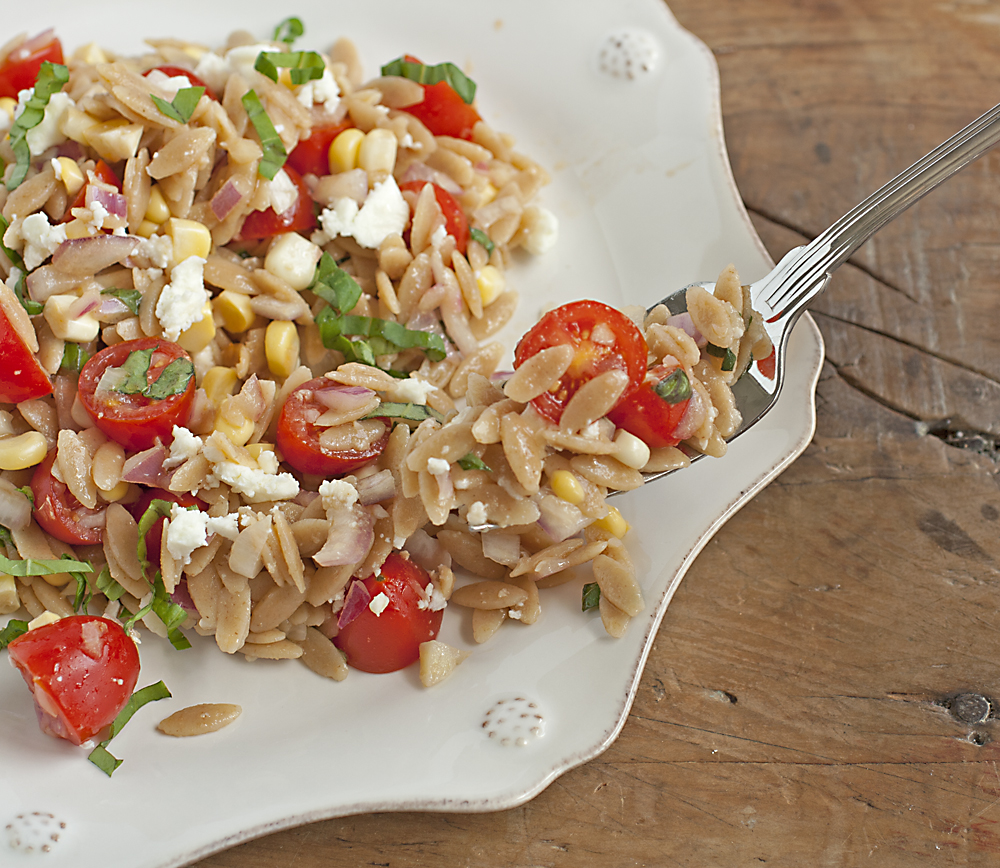 Orzo Salad with Corn, Tomato, Basil, and Feta | Plum Pie