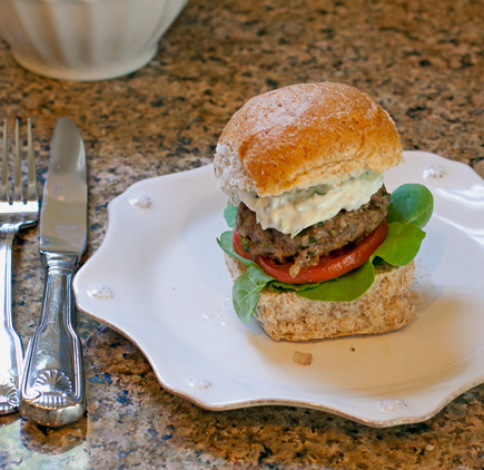 greek lamb and feta burger
