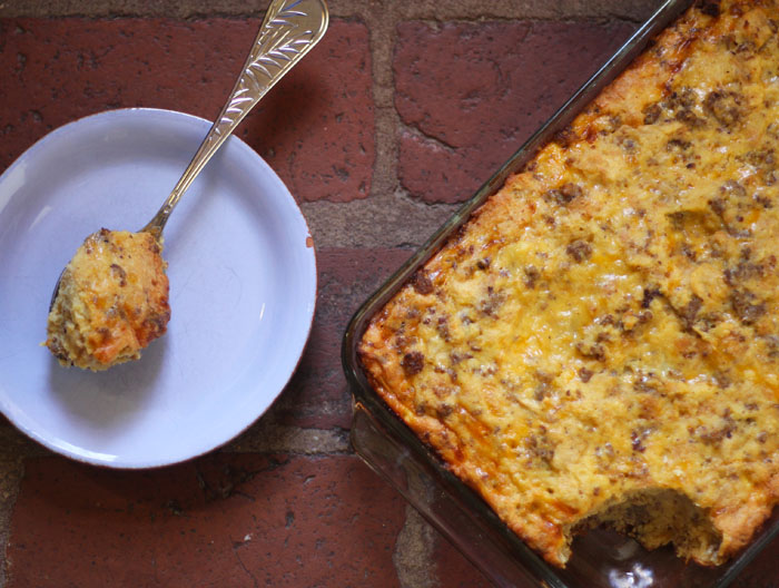 Sausage, Cheese, Biscuit and Apple Breakfast Casserole | Plum Pie