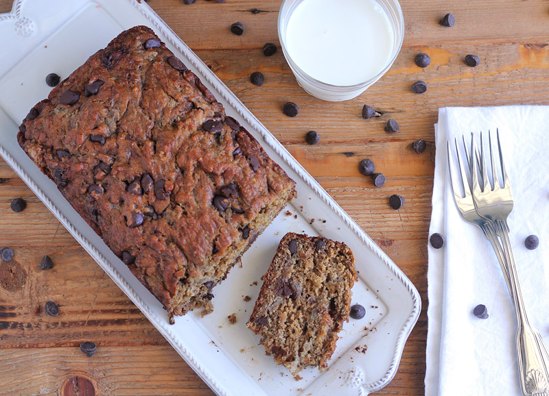 Roasted Banana + Chocolate Chunk Bread | Plum Pie